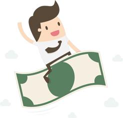 persona che vola sulla banconota